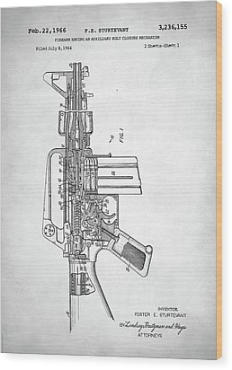 Wood Print featuring the digital art M-16 Rifle Patent by Taylan Apukovska