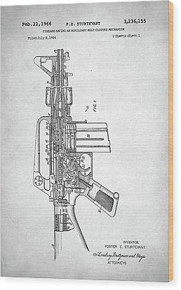 M-16 Rifle Patent Wood Print by Taylan Apukovska