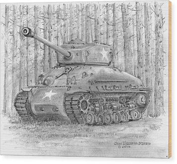 Wood Print featuring the drawing M-4 Sherman Tank by Jim Hubbard