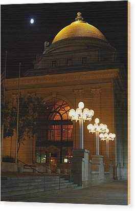 Wood Print featuring the photograph M And T Bank At Night by Don Nieman