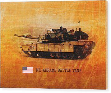Wood Print featuring the digital art M1 Abrams Battle Tank by John Wills