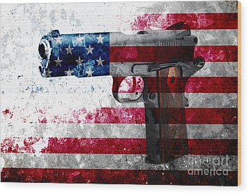 M1911 Colt 45 And American Flag On Distressed Metal Sheet Wood Print