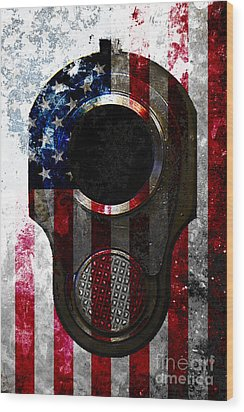 M1911 Colt 45 Muzzle And American Flag On Distressed Metal Sheet Wood Print
