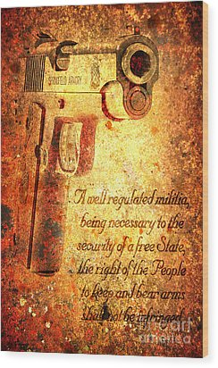 M1911 Pistol And Second Amendment On Rusted Overlay Wood Print