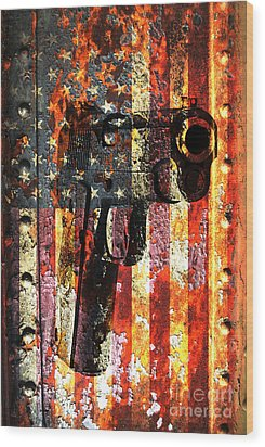M1911 Silhouette On Rusted American Flag Wood Print