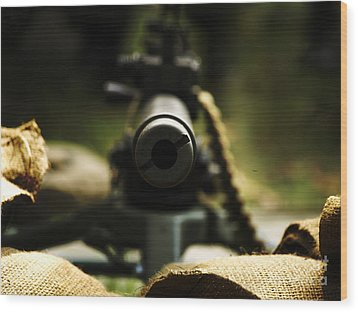 M1919 Browning Machine Gun Wood Print by Steven  Digman