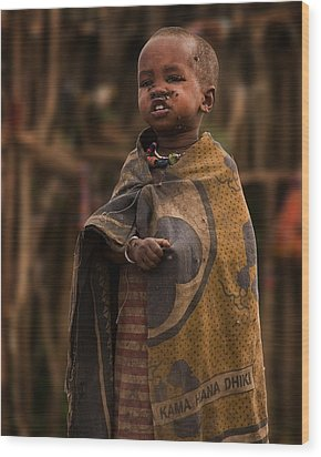 Maasai Boy Wood Print by Adam Romanowicz