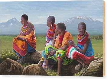 Wood Print featuring the painting Maasai Women by Anthony Mwangi