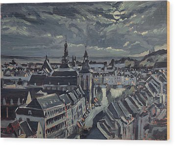Maastricht By Moon Light Wood Print by Nop Briex