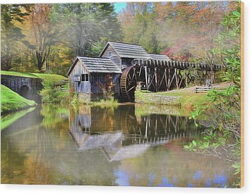 Mabry Grist Mill Wood Print by Sharon Batdorf