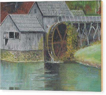 Mabry Mill In Virginia Usa Close Up View Of Painting Wood Print by Anne-Elizabeth Whiteway