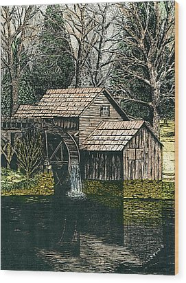 Mabry Mill Wood Print by Mike OBrien