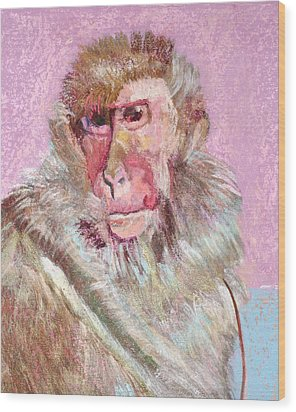 Macaque Wood Print
