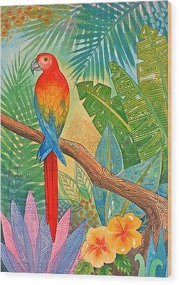 Macaw Wood Print by Jennifer Baird