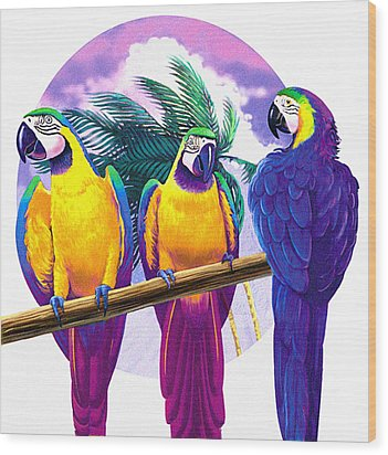 Macaws Wood Print by Valer Ian