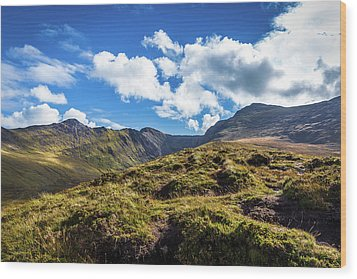 Macgillycuddy's Reeks And Valleys In Kerry In Ireland  Wood Print by Semmick Photo