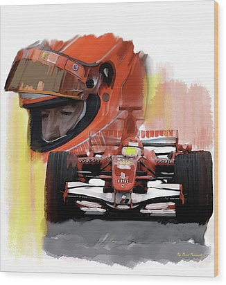 Wood Print featuring the painting Macher  Michael Schumacher by Iconic Images Art Gallery David Pucciarelli