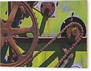 Machinery Gears  Wood Print by Garry Gay