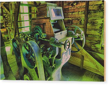 Wood Print featuring the photograph Machinery In An Old Grist Mill by Jeff Swan