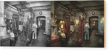 Wood Print featuring the photograph Machinist - Government Approved 1919 - Side By Side by Mike Savad