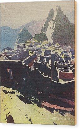 Machu Picchu Morning Wood Print
