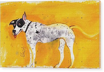 Mack The Pit/dalmatian Wood Print by Gertrude Palmer