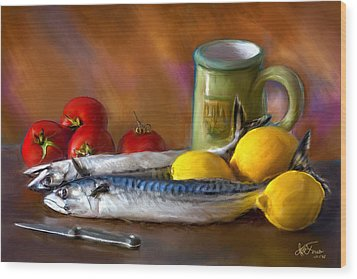 Wood Print featuring the photograph Mackerels, Lemons And Tomatoes by Juan Carlos Ferro Duque
