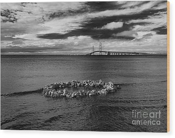 Mackinac Bridge - Infrared 03 Wood Print