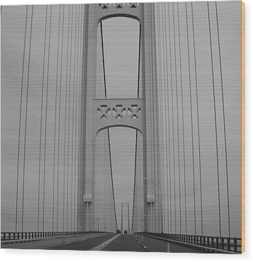 Mackinac Bridge Wood Print by Beverly Cazzell