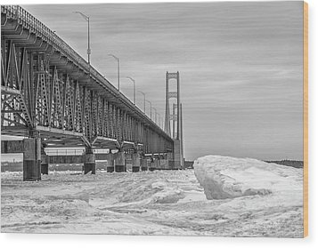 Wood Print featuring the photograph Mackinac Bridge Icy Black And White  by John McGraw