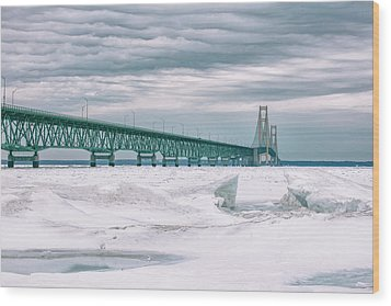 Wood Print featuring the photograph Mackinac Bridge In Winter During Day by John McGraw