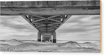 Wood Print featuring the photograph Mackinac Bridge In Winter Underneath  by John McGraw