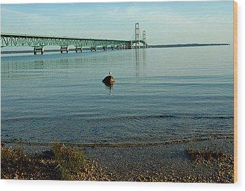 Wood Print featuring the photograph Mackinac Bridge Michigan by LeeAnn McLaneGoetz McLaneGoetzStudioLLCcom