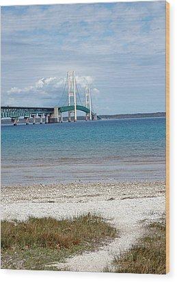 Wood Print featuring the photograph Mackinac Bridge Path To Lake by LeeAnn McLaneGoetz McLaneGoetzStudioLLCcom