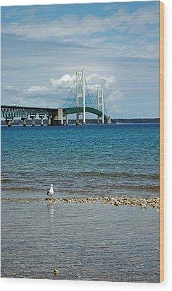 Wood Print featuring the photograph Mackinac Bridge Private Seagull Beach by LeeAnn McLaneGoetz McLaneGoetzStudioLLCcom