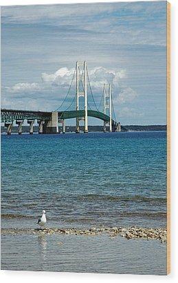 Wood Print featuring the photograph Mackinac Bridge With Seagull by LeeAnn McLaneGoetz McLaneGoetzStudioLLCcom