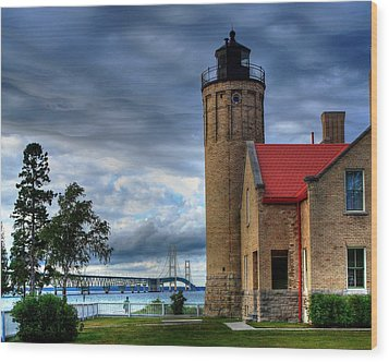 Mackinaw Bridge And Lighthouse Wood Print by Coby Cooper