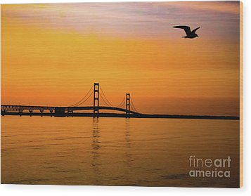 Mackinaw Sunset  Wood Print