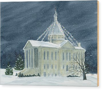 Macoupin County Illinois Courthouse Wood Print by Denise   Hoff