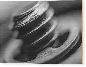 Wood Print featuring the photograph Macro Screw Bolt Black White by David Haskett