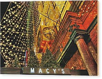 Macy's Christmas Lights Wood Print by Randy Aveille