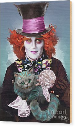 Mad Hatter And Cheshire Cat Wood Print by Melanie D