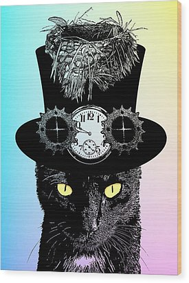 Mad Hatter Cat Wood Print