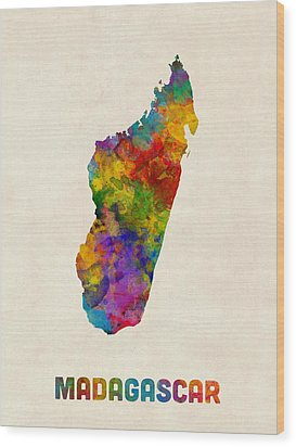 Wood Print featuring the digital art Madagascar Watercolor Map by Michael Tompsett
