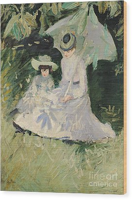 Madame Helleu And Her Daughter At The Chateau Of Boudran Wood Print by Paul Cesar Helleu