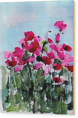 Maddy's Poppies Wood Print