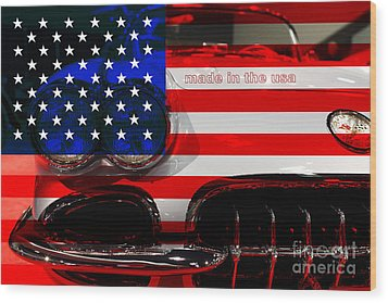 Made In The Usa . Chevy Corvette Wood Print by Wingsdomain Art and Photography