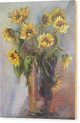 Madelaine's Sunflowers Wood Print by Jeanette Fowler
