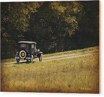 Madison County Back Roads-ford Wood Print by Kathy M Krause
