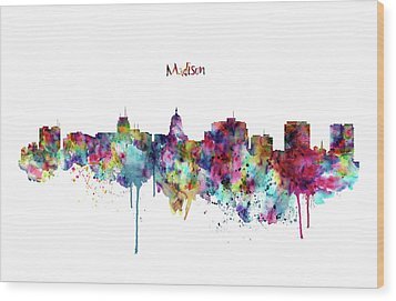 Wood Print featuring the mixed media Madison Skyline Silhouette by Marian Voicu